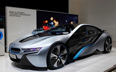 The BMW i8 electric concept car. This car was seen in the latest Mission Impossible movie.