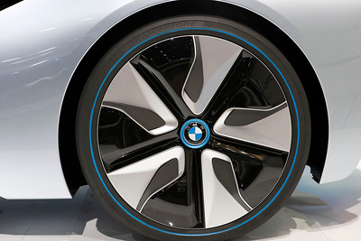 Low profile wheel and tire from the BMW i8 electric concept sports car.