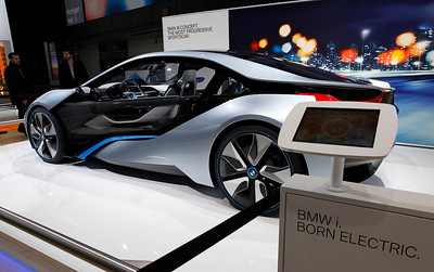 The BMW i8 electric concept sports car.