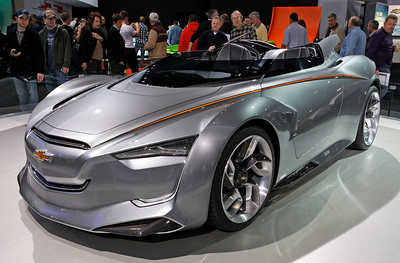 The Chevrolet MIRAY concept features an electric motor combined with a turbo 1.5 liter gas engine.