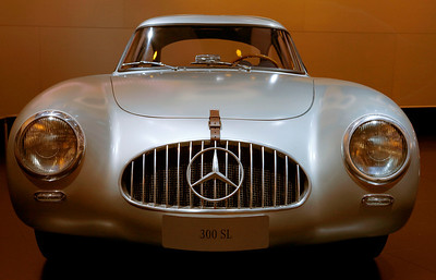 The Mercedes Benz SL 300 race car W 194 was built in 1952 with gullwing doors, a 2,996 cc inline six cylinder engine producing 168 hp, and a top speed of 142 mph.