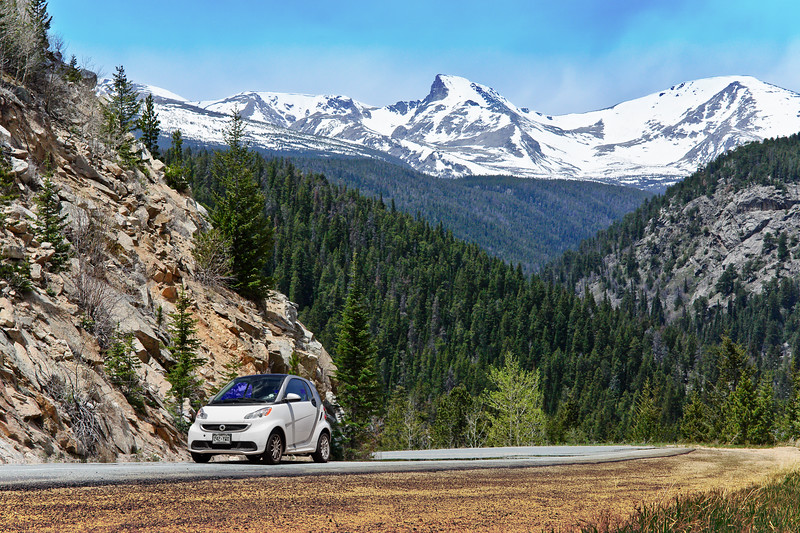 Here's a sample of the shot we'll take on the SOUTHbound leg of the Peak-to-Peak Highway trip!  Don't worry, we'll have a whole gallery of all the shots we take, so it will be easy to pick the one of your car.  That's Sawtooth Peak in the background, which will most likely have less snow than you see here, but you never know.