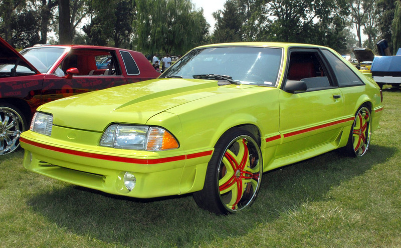 Ford Mustang on 22 inch wheels.