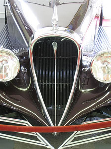 Buick 90 Limited Brewster Town Car. This is the Brewster trademark heart-shaped grille and appears on any Brewster body regardless of the chassis manufacturer. This is believed to be the only 1940 Buick to have a Brewster body and may be the last car ever to feature this grille design. If the velvet rope were not there we could see the full design and the split front bumpers, another Brewster trademark.