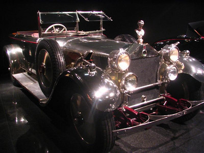 Daimler Model 45HP Salon Cabriolet. Originally ordered as a hunting vehicle for the Muharajah of Rewa of India. The body was built by Barker of London out of German silver.