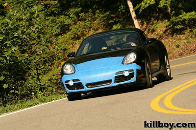 Because I was going to be on 81 (behind many truckers) for a few hundred miles I decided to tape up the front end of my 3 week old Cayman.  On previous trips down 81 my old S2000's front end was chewed up.  This photo was taken by Killboy on the Dragon - this was my first run with the Cayman.