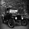 Model T in black & white.  Car show in Bridgetown NS.
