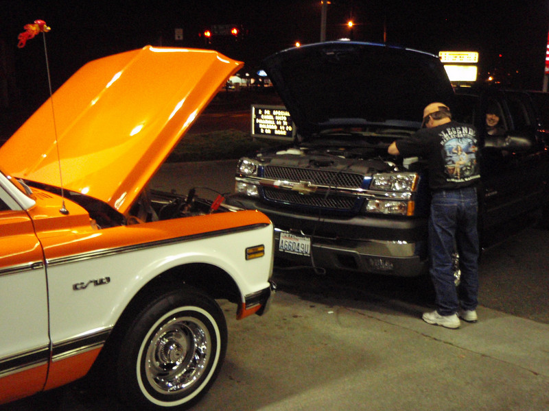 Rob's battery on the C/10 needed a jump after fueling up.