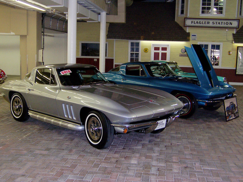 1965 Corvette (SILVER). 327cid/350hp V8 with a 4-speed. Frame-off restoration with matching numbers. $68,040.<br /> <br /> 1967 Corvette (BLUE) 427cid/435hp V8 with a 4-speed. 33,000 original miles and frame-off restoration and documented with a tank sticker. $259,200.