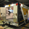 The back doors open wide, it's an ambulance at heart. We use these for uncooperative arrests and for loading and unloading larger equipment. They also come in handy when backing up to hook onto the trailer. We can open them and see the hitch from the rear view mirror. The doors also have rubber stoppers so that they will not hit the body and it also keeps the doors from swinging freely.