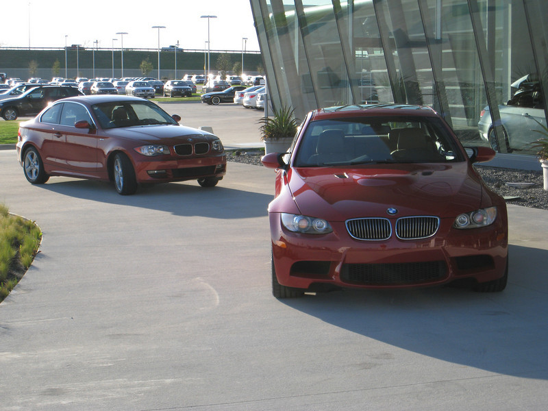 Sedona Red 128i and Melbourne Red M3 coupe