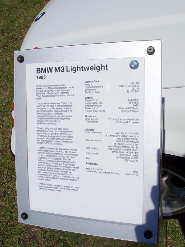 1995 M3 Lightweight Info