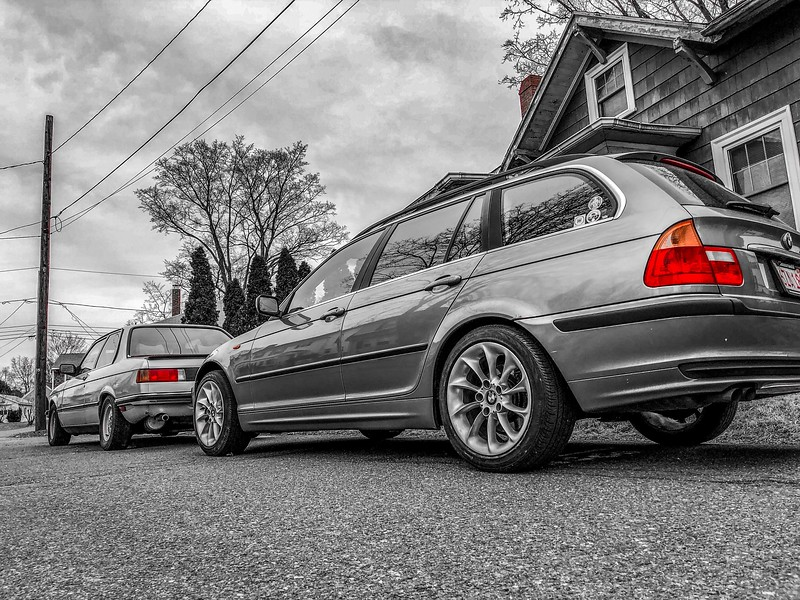 My E21 323i and E46 325i on the street. I had just installed the Z4 Style 106 wheels (17x8.0 ET47) and Bruce Werks wheel spacers (12.5mm in front, 20mm in rear).