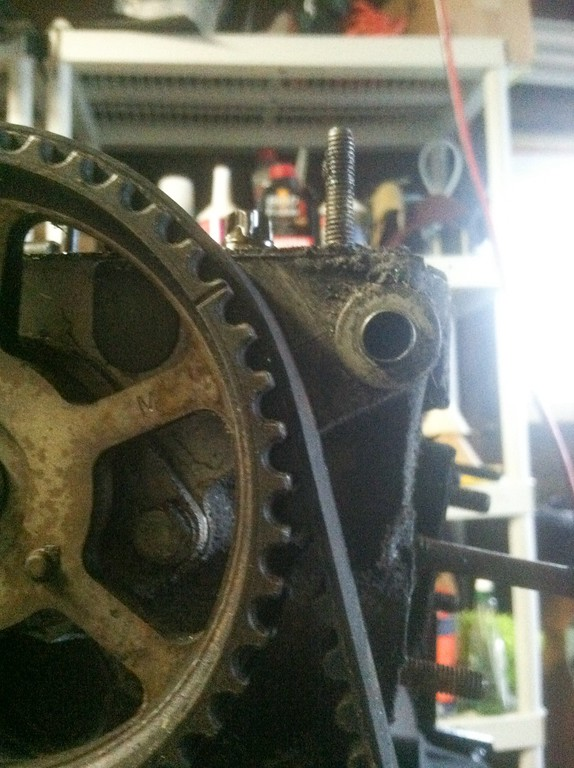 camshaft sprocket. the cam is retarded by 1.5 teeth for some reason.