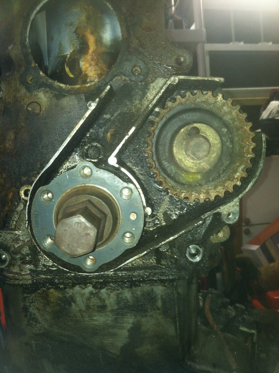 front timing cover with crank and intermediate shaft gears