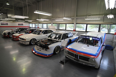 Left to right: 1970 2002ti, 1977 320 Turbo, 1993 M5 IMSA Supercar, 1996 M3 GT3, 2001 M3 GTR, 1999 V12 LMR