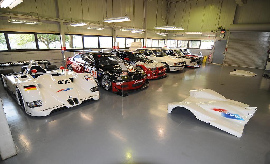 Left to right: 1999 V12 LMR, 2001 M3 GTR, 1996 M3 GT3, 1993 M5 IMSA Supercar, 1977 320 Turbo, 1970 2002ti