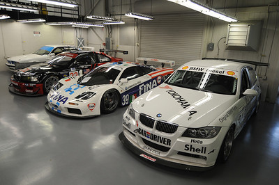 Right to left: 2006 335d (Thunderhill car), 1996 McLaren F1 GTR, 2001 M3 GTR, 1993 M5 IMSA Supercar (back in the corner)