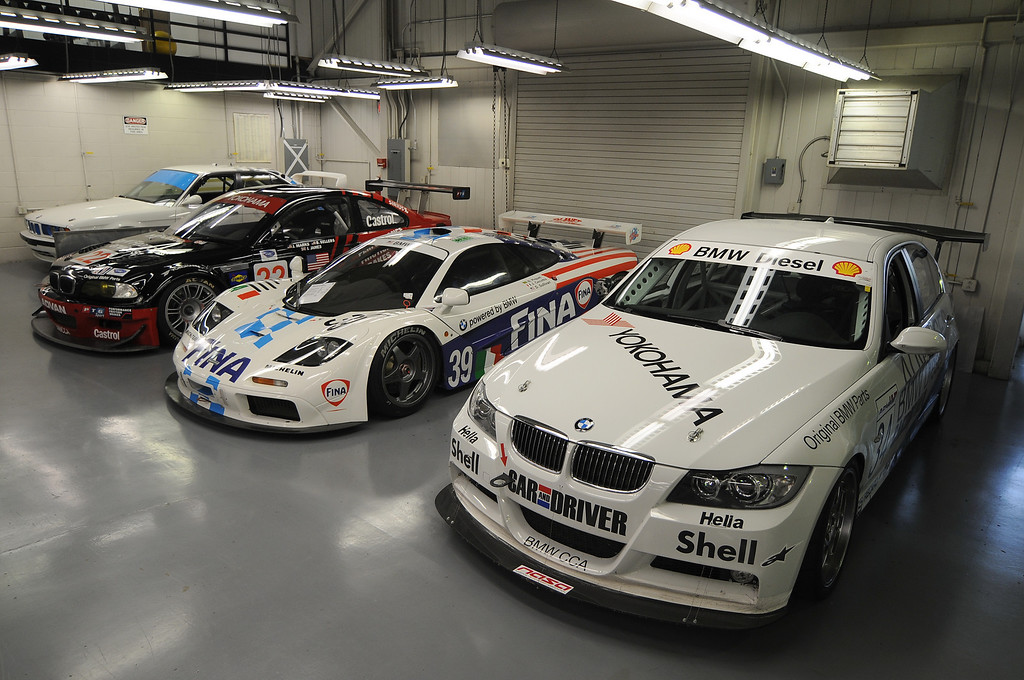 Right to left: 2006 335d (Thunderhill car), 1996 McLaren F1 GTR, 2001 M3 GTR, 1993 M5 IMSA Supercar (back in the corner)