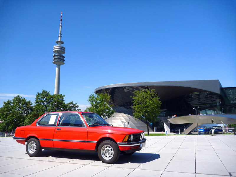 E21 3 Series with BMW Welt in the Background