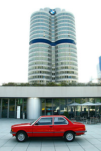 E21 3 Series in Front of BMW Headquarters