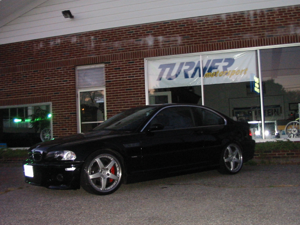 """E46 325Ci. M3 front bumper, front fenders with grilles, hood, and rear lip spoiler. Hamann 19"""" wheels. Brembo Gran Turismo front brake kit. Borla exhaust."""