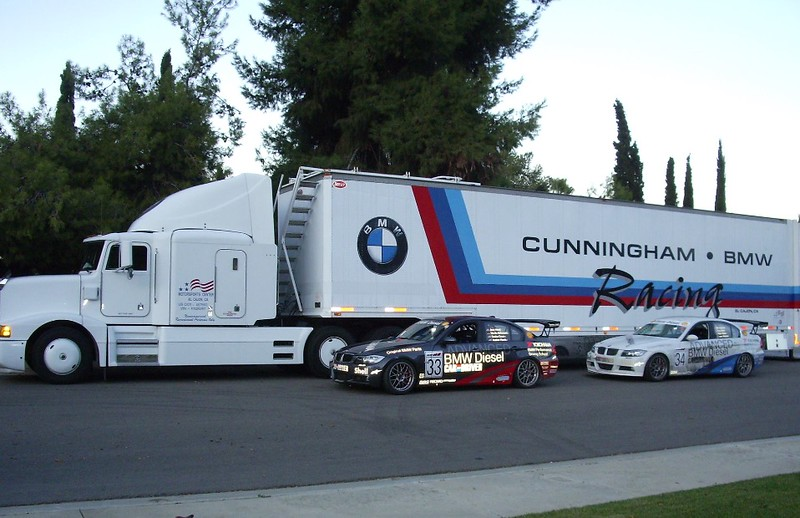 E90 335d racecars brought into the US for endurance racing. The hauler behind it was used by a famous West Coast racer named Rug Cunningham. The trailer is still in use today for vintage racing and other transport.