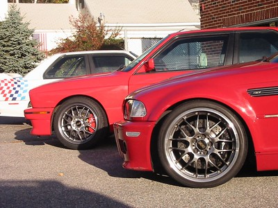 E30 M3, E46 M3. Both with Brembo brakes and BBS wheels