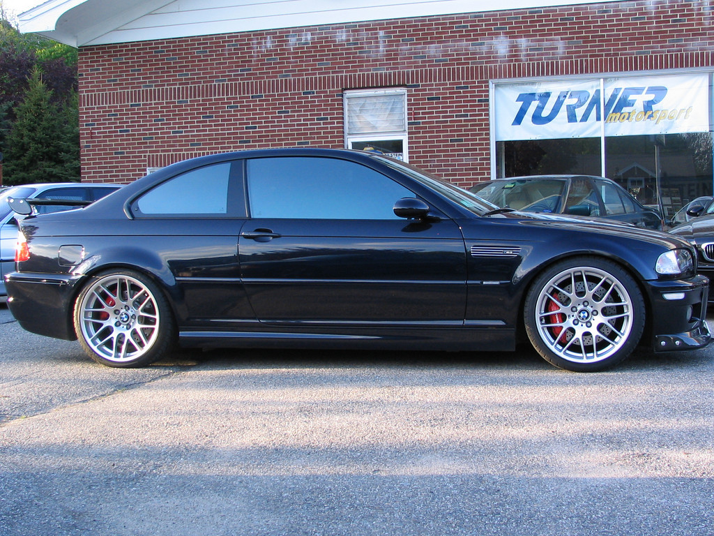 E46 M3. This car has it all: CSL wheels, Bilstein PSS-9 coil overs, Brembo Gran Turismo brakes in front and rear, Euro Headers/Cats, Borla mufflers, carbon fiber front splitter and rear wing, TMS software, TMS intake, TMS pullies... oh my!
