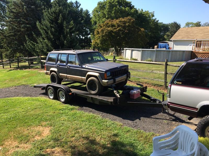Jacki Jeep Cherokee loaded for race 9-18-15