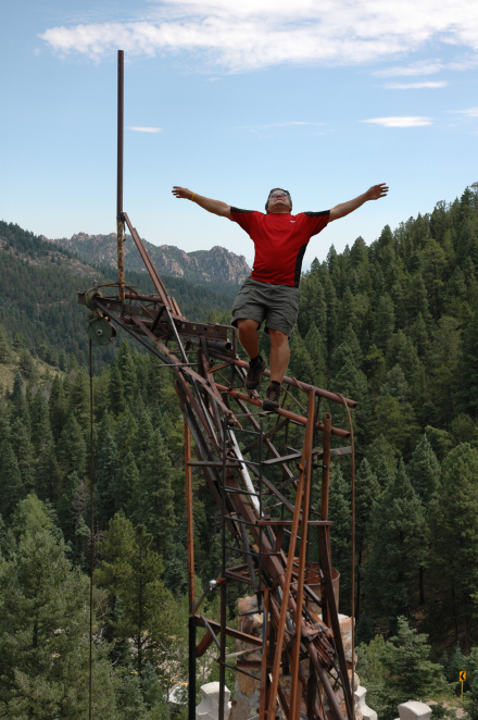 Rick, pretending to bungie jump without a bungie. Actually, the only thing Rick did was to manipulate this photo.