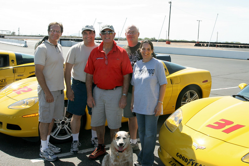 Bob Bondurant, center, at Bob Bondurant School of High Performance Driving, 20000 S. Maricopa Road, Gate #3 in Chandler, Arizona.
