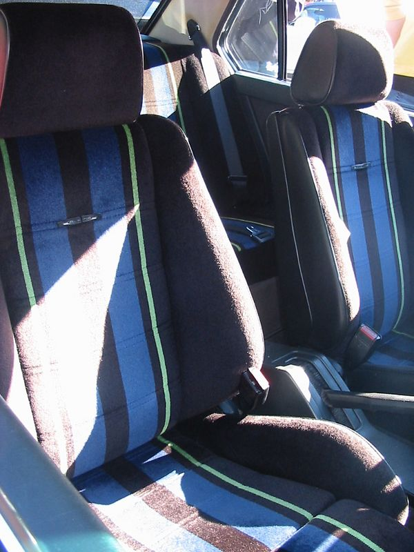 Alpina B9. Velour seats with Alpina colors in front and back.