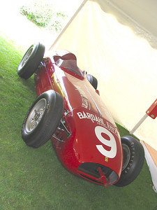 Bardahl-Ferrari Indy Car. A Kurtis chassis with a Ferrari 121 6-cylinder engine, built for the 1956 Indy 500. The car failed to qualify however, as its scheduled timing runs were rained out. It did re-appear on the sands of Daytona where it posted a record 170.5mph run.