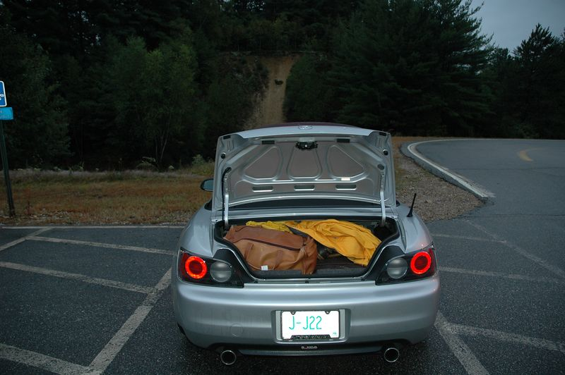 The only S-2000  heading to the British Invasion is loaded  sans GF's luggage and ready for the ride to Stowe, VT