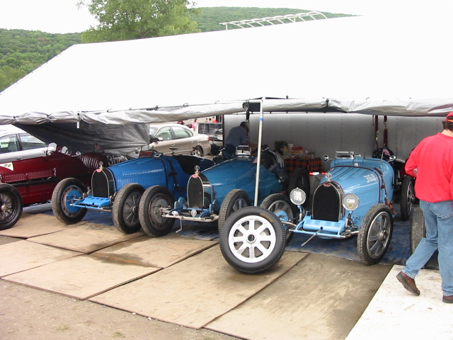 Type 35s in the Lime Rock paddock