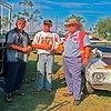 At Emerald burnouts L-R Wez Woods (Woodsy)  Keith Harris (Bungee)  Ray Norris of Norris Automotive. The Woods Tyres truck carries Keiths Holden Kingswood V8