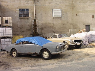 Peabody, MA. Lancia Fulvia (?) and Volvo P1800