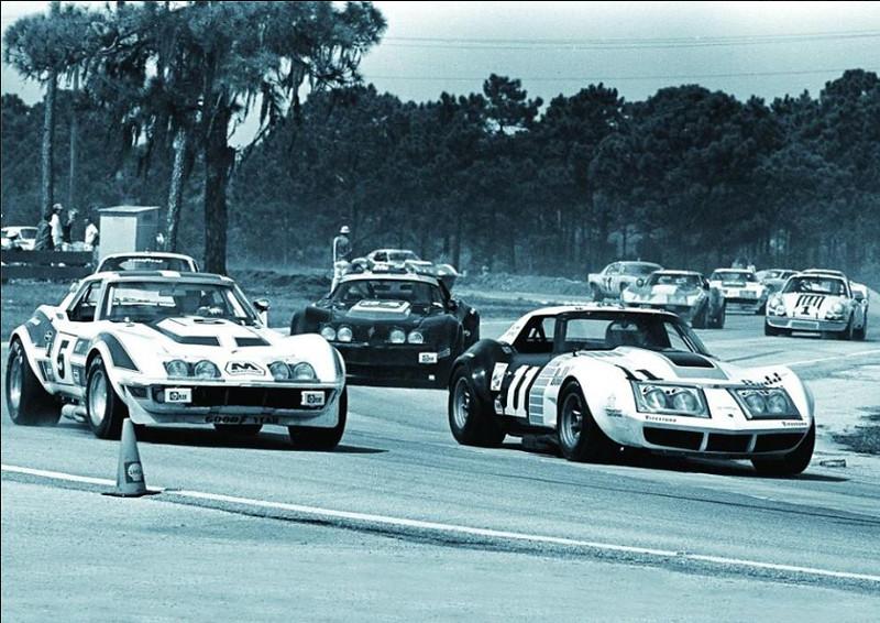 # 5 - 1973 IMSA Dave Heinz & Jerry Thompson, ex Rebel Corvette at Sebring leads Ton DeLorenzo