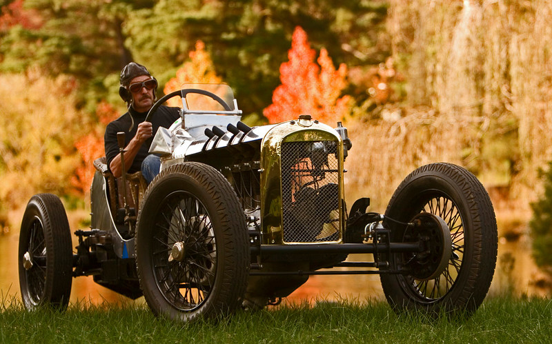 Frank Cuttell's self-constructed Cirrus Special. Although of 1920's appearance, Frank built this car between 1999 and 2002. An altered 1927 Buick chassis is powered by a 5 litre Cirrus II aero-engine, connected to a 1920s Singer gearbox and 1927 Chev truck rear axle with a very high crown wheel and pinion ratio to suit the 2,800 maximum RPM of the engine.<br /> <br /> The front axle is of the GN style of the day of Brooklands racers. Frank built the tandem-seat bodywork himself.<br /> <br /> The Cirrus now resides in England. It has been driven at the BOC Prescott Hillclimb in Gloucestershire.