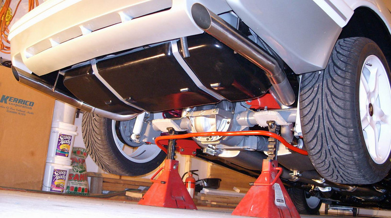 A nice shot of the tailpipes and underside.