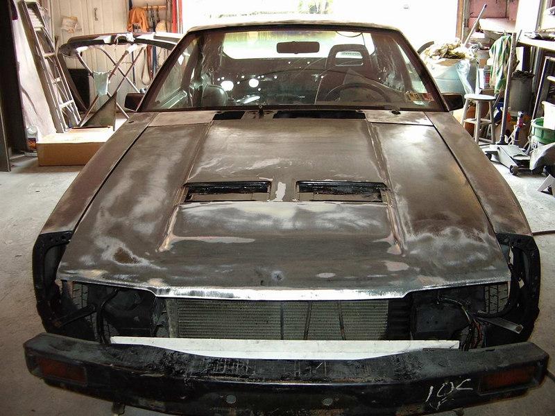 The whole car down to bare metal... kinda looks like a DeLorean.