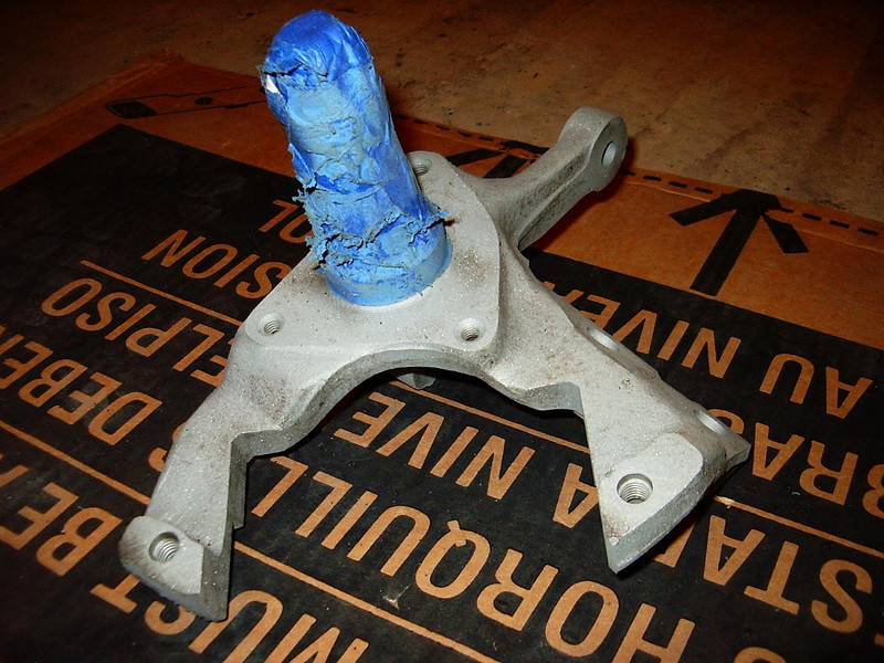 One of the front spindles freshly sandblasted.
