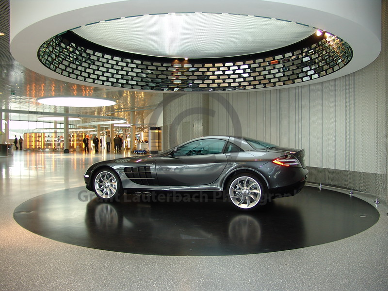 SLR Mercedes in the Mercedes factory showroom in Germany.