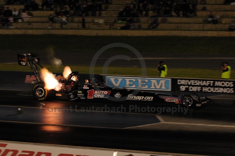 Top Fuel Dragster racing at the Quit Motorplex in Kwinana Western Australia.