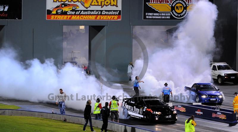 Brett Stewart from Formula Tech in his street car warming up his tyres. Good job Brett :o)