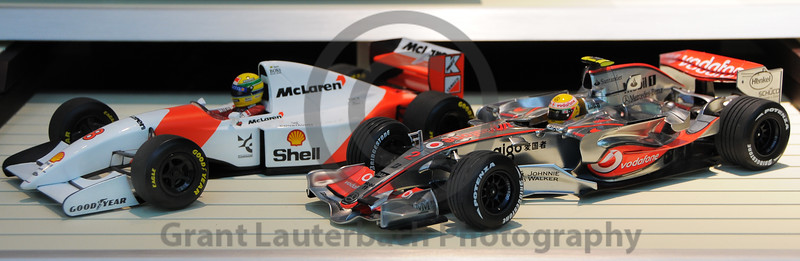 Two toy F1 cars in a shop window in Tokyo Japan.