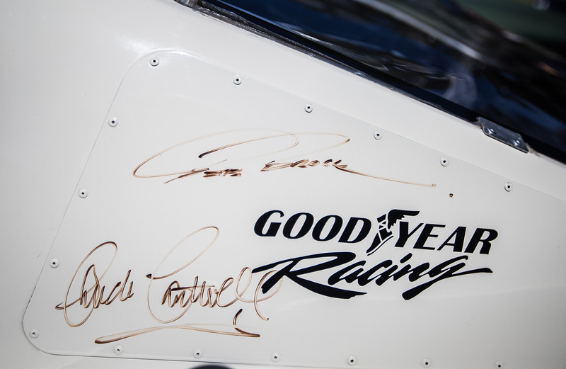 Pete Brock and Chuck Cantwell signatures on Shelby Mustang