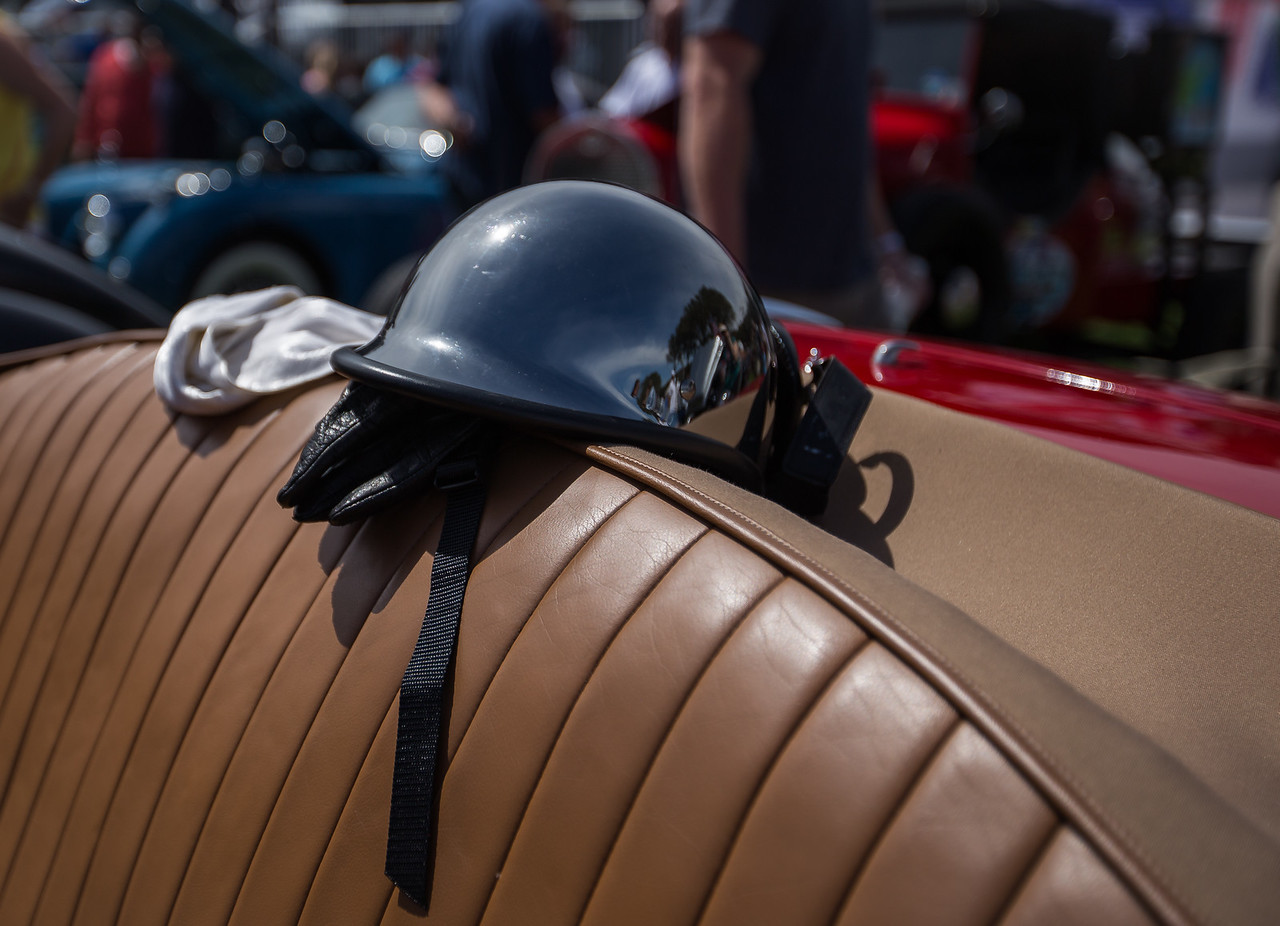 Helmet and Gloves, 1953 Allard Palm Beach 21C Roadster