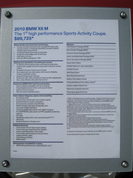 BMW X6 M Display info
